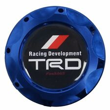 Engine Oil Fuel Filler Billet Cap Tank Cover Aluminum Blue For Toyota Racing TRD