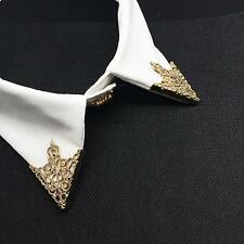 Vintage Men's Hollow Out Triangle Shirt Collar Pin Brooch Party Gifts Gold