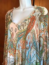 SUNNY LEIGH BOHO PEASANT SEMI SHEER TOP With Lining XL Plus Size