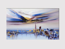 477 X LARGE CANVAS 18''x 32'' WALL ART CITY OF LONDON ABST. BLUE  PRINT PICTURE