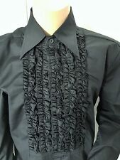 "RUFFLED BLACK TUXEDO SHIRT POP ENGLAND DISCO FRILLED SHIRT BNWT  46.5"" X17"" XL"