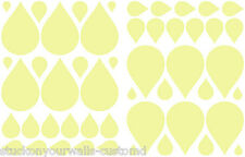 RAINDROP SHAPED WALL DECALS STICKERS PALE YELLOW - 50 pieces VINYL Bedroom