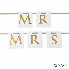 Mr & Mrs Wedding Party Vintage Style Chair Decoration Banner 2Pc. Set