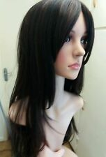 Brown Human Hair Wig, Real Hair, Hair Blend, Brunette, Dark Brown, bangs, fringe