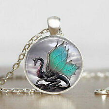 Vintage Dragon Cabochon Glass Pendant Tibetan Silver Chain Necklace Jewelry Gift