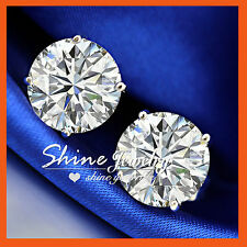 9K GOLD GF SILVER Round 10MM 6CT BIG Simulated Diamond SOLID MENS LADY EARRINGS