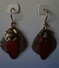 Jody Coyote Earrings JC0392 Sienna Collection flower QN326-01 red brown dangle
