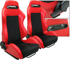 NEW 1 PAIR RED PVC LEATHER & BLACK SUEDE ADJUSTABLE RACING SEATS CHEVROLET *