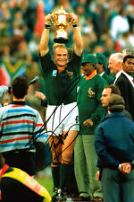 Francois PIENAAR Signed Autograph 12x8 Rugby Photo AFTAL COA with Nelson Mandela