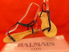NEW BALMAIN BLACK LEATHER TOE RING GOLD PLATE LOGO THONG FLATS SANDALS 37 ITALY