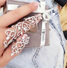 Fashion Punk Engraved Flower Chain Link Hollow Charm Full Finger Ring Jewelry