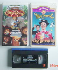3 CASSETTES VHS DE WALT DISNEY, MARY POPPINS, COUNTRY BEARS & JOURNAL PRINCESSE