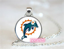 Miami Dolphins NFL Football Chain Pendant Glass Cabochon Photo necklace