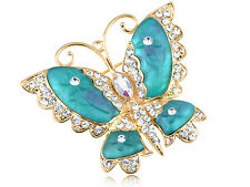 Crystal Elements Blue Green Cartoon Carved Wing Butterfly Lady Brooch
