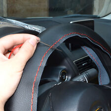 DIY Genuine Leather 14''/15''/16'' Steering Wheel Cover w/Needles Thread BK/RED