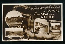 Kent DEAL AND WALMER Railway m/view Good Wishes c1930s? RP PPC by Valentine