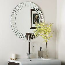 Frameless Beveled Glow Wall Mirror Modern Bathroom