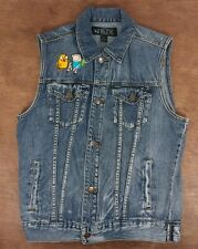 Womens Adventure Time Rude Patches Sleeveless Denim Jean Jacket Vest - Small