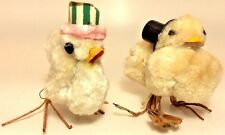 2 Vintage Large Chenille/Spun Cotton Easter Chicks With Top Hat & Easter Bonnet