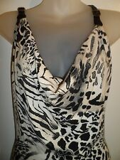 Sky Clothing Brand XS Mini Dress Black Creme Leopard Print Leather Straps Party