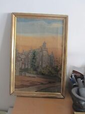 """Antique European Berlin Woolwork Needlepoint Tapestry Scene 13"""" x 20"""" completed"""