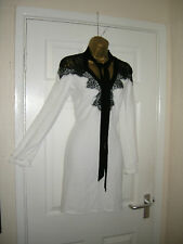 8 LIPSY MINI DRESS IVORY / BLACK LACE LONG SLEEVE TIE NECK WEDDING SUMMER