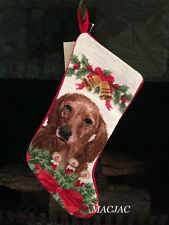 Red Dachshund Dog Needlepoint Christmas Stocking NWT