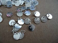 100 pcs Sterling Silver 925 plated disc tag 6mm charms for bracelet & necklace