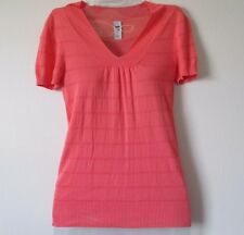 Womens GAP S Pink Coral Striped Short Slv Thin Sweater Top V-Neck Cotton & Rayon