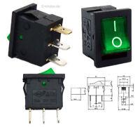 Beleuchteter 12V Wippschalter grün, 21x15mm, EIN-AUS ON-OFF Schalter SPST #20D