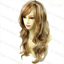 Wonderful wavy Long Golden strawberry Blonde mix Curly Ladies Wig from WIWIGS UK
