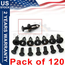 120 X 8mm Hole Plastic Rivets Fastener Push Clips Clip Black for Car Auto Fender