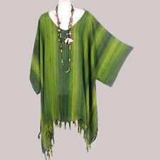 NEW GREEN STRIPED KAFTAN TUNIC HIPPY TASSEL SHIRT TOP PLUS SIZE WOMENS 30 32 34