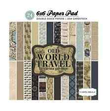 6x6 Scrapbook Papers Full Pack Double Sided Old World Travel Maps Text Vintage