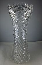 ABP American Brilliant Period Cut Glass Vase - Corset with Twisted Notching