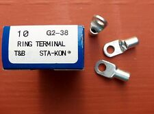 "Box/10 Thomas & Betts G2-38 Sta-Kon 2-1 Str 3/8"" Ring Connector Terminal NEW"