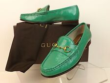 NIB GUCCI JASMINE GREEN PATENT TEXTUR LEATHER GOLD HORSEBIT LOAFERS 37 7 $575