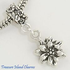 EDELWEISS FLOWER .925 Solid Sterling Silver EUROPEAN EURO Dangle Bead Charm