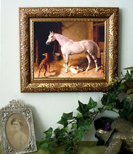 Herring Arabian Horse Gray n Stable Print Antique Style Framed 11X13