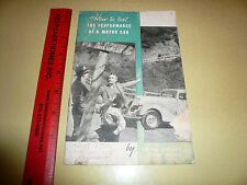 1934 Oldsmobile Features Booklet How to Test the Performance of a Motor Car