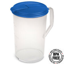 Sterilite 1 Gallon Round Pitcher with Blue Lid and Spout #0488