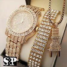 Men Hip Hop Iced Out Lab Diamond Watch & Bracelet & Power Plug Necklace Gift Set