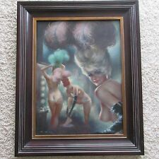 VINTAGE EXOTIC DANCERS RISQUE PAINTING NUDES MOULIN ROUGE SIGNED MYSTERY ARTIST