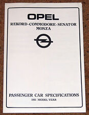 1981 OPEL REKORD COMMODORE SENATOR MONZA Specifications Guide Brochure