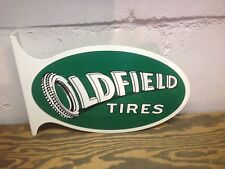 VINTAGE LARGE 40'S STYLE OLDFIELD TIRE GAS STATION SERVICE DISPLAY SIGN