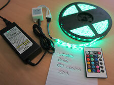 5M 5050 RGB 60 LED/M Waterproof Muti Colour LED Light Strip+ Remote Control+ PSU