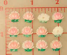 12 vintage plastic roses flowers Japan pink white green 11mm celluloid flat back