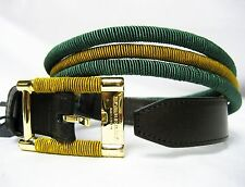 "$450 Burberry Prorsum Keyla Golden Green Women 100cm 39.5"" Leather Belt Lady"