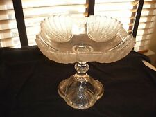 TALL ANTIQUE EAPG EARLY AMERICAN PRESSED GLASS SHELL AND TASSELL COMPOTE