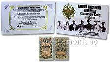 THE LAST TSAR: ROMANOV GOLD RUBLES 1909 RUSSIA 5 Rubles P-10 Banknote in Folder